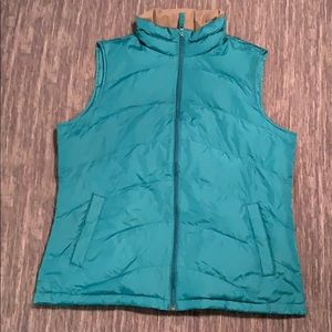 Size Medium Turquoise/ Teal Land's End Puffer Vest